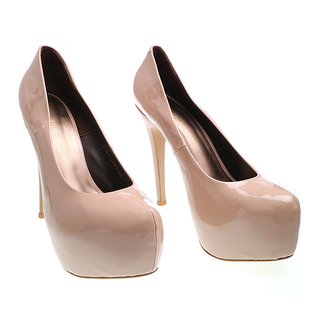 Janylin Patent Heeled Pumps (7-3089-Nude)