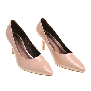 Janylin Patent Pointed Pumps (7-3622-Nude)
