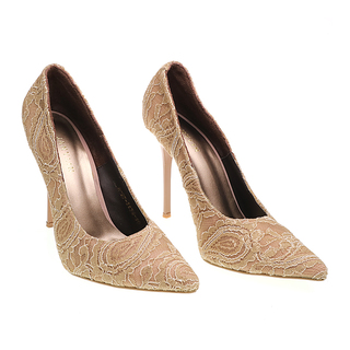 Janylin Suede Pointed Pumps (7-3624-Beige)