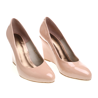 Janylin Patent Semi Pointed High Wedge Pumps (7-3642-Nude)