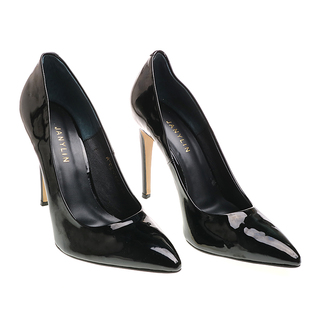 Janylin Patent Pointed High Heel Pumps (7-3683-BlkPat)