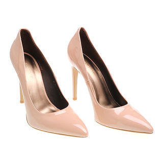 Janylin Patent Pointed High Heel Pumps (7-3683-Nude)