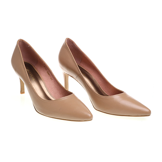 Janylin Leather Pointed Mid High Pumps (7-3691-Nude)