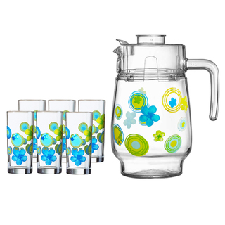LUMINARC AE D3181 BUBBLES FLOWERS ANIS BEVERAGE SET OF 7 (AARC174)