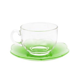 LUMINARC FR D9331 FLORE GREEN CUP/SAUCER SET 22CL (FLUF275)