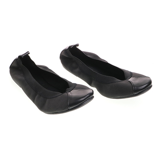 Janylin Gartered Foldable Round Toe Flats (541-33-Black)
