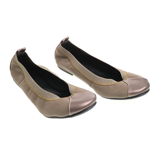 Janylin Gartered Foldable Round Toe Flats (541-33-Taupe)