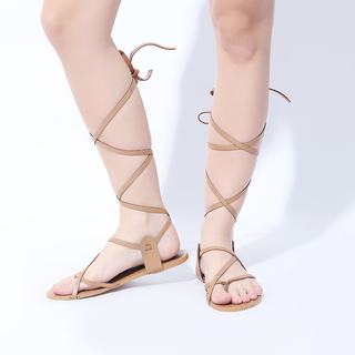 Janylin Tied Up Strappy Flat Sandals (7-4086-Nude)
