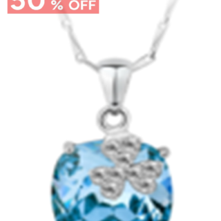 My Story Swarovski Clover Blue Gem Necklace (t21)