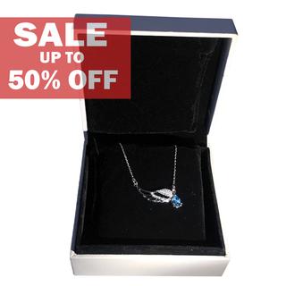 My Story Swarovski Angel Wings on Blue Gem Necklace (t22)