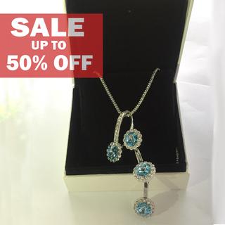 My Story Swarovski Dangling Blue Necklace (t65)