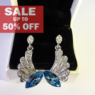 My Story Swarovski Blue Crystal Tear Diamond Wing Dangle Earrings (t180)