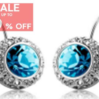 My Story Swarovski Blue Crystal Diamond Clip Earrings (t181)