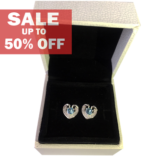My Story Blue Diamond in my Heart Earrings (t218)
