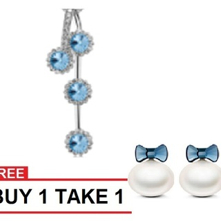 My Story Swarovski Dangling Blue Necklace/ Ribbon Pearl Earring BUY ONE TAKE ONE (T10005s)