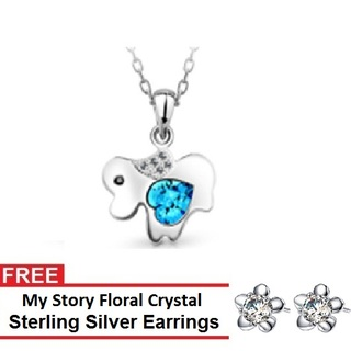 My Story Swarovski Chinese Zodiac Love Dog Necklace and FREE My Story Floral Crystal Sterling Silver Earrings (T10008s)
