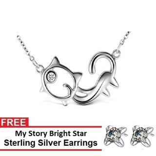 My Story Love Kitty Necklace and FREE My Story Bright Star Sterling Silver Earrings (T10009s)