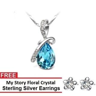 My Story Swarovski Diamond Drop Necklace and FREE My Story Floral Crystal Sterling Silver Earrings (T10014s)