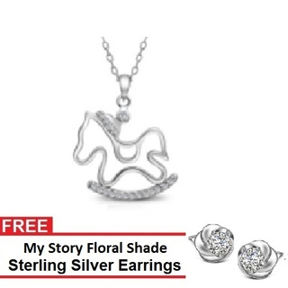My Story Rocking Horse Necklace and FREE My Story Floral Shade Sterling Silver Earrings (T10017s)