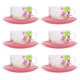 LUMINARC FR D8090 FRESH FLOWER PINK CUP/SAUCER SET 22CL (FLUF246)