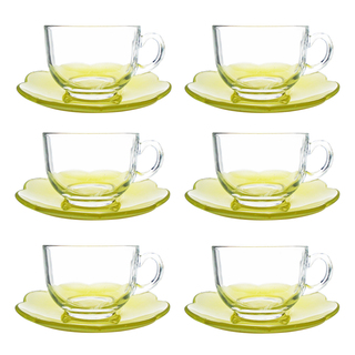 LUMINARC FR D9326 FLORE YELLOW CUP/SAUCER SET 22CL (FLUF255)