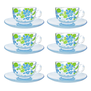 LUMINARC FR D2560 JAPANESE TREE BLUE CUP/SAUCER 22CL (FLUJ045)