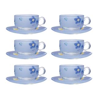 LUMINARC FR C3370 POEME BLUE CUP/SAUCER 22CL (FLUP128)