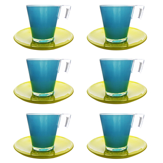LUMINARC FLUB156 FR D2628 BICOLOR BLUE YELLOW CUP/SAUCER 22CL (FLUB156)