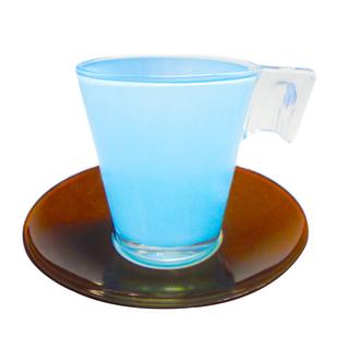 LUMINARC FR D4070 BICOLOR CHOCO BLUE CUP/SAUCER 22CL (FLUB128)