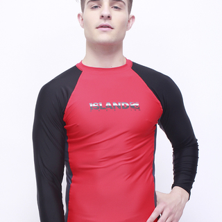 Island Haze Stripes Strikes Long Sleeves Rashguard with UV Protection (Red-0305)