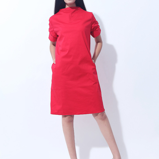 CANVAS MOCKNECK DRESS (Red)