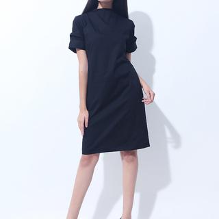 CANVAS MOCKNECK DRESS (Black)