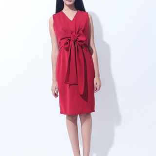 CANVAS WRAP DRESS W/RIBBON (Dark Red)