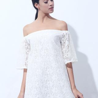 CANVAS LACE OFF SHOULDER DRESS (White )