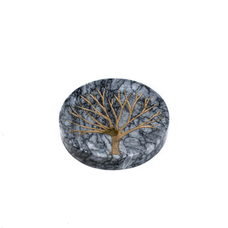 Marmol Stonework Black Circular Marble Coaster with Golden Tree Engraving (MCSTRCIRENGTREEB)