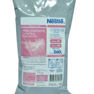 NESTLE Pink Lemonade Lychee Flavor Fruit Drink Mix  360 grams