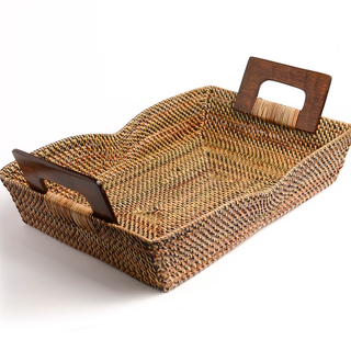 "RECT NITO BASKET TRAY WITH WOOD HANDLE 15""X10X2"" (32616)"