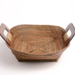 "SQUARE NITO BASKET TRAY WITH WOOD HANDLE 12.75""X11.25""X4"" (32617)"