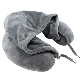 Neck Pillow with Hood (Grey)
