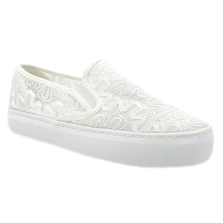 APPETITE SHOES- WOMEN'S WHITE LACE HIGH PLATFORM CANVAS SLIP ON (APBE6299WHT)