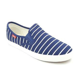 APPETITE SHOES-DARK BLUE STRIPES CANVAS SLIP ON (APG8289)