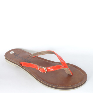 APPETITE SHOES- SYNTHETIC LEATHER FLATS (APBELTBUCK) ORANGE