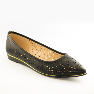 Mendrez Arlyn Pointed ballerina shoes with laser cut details and gold piping