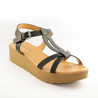 Mendrez Carly T strap sandal on 2 inch platform heel