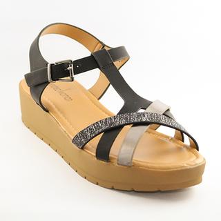 Mendrez Elise T strap sandal on 2 inch platform heel