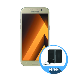 SAMSUNG GALAXY A5 2017 with FREE Level U Pro and flip wallet cover GOLD
