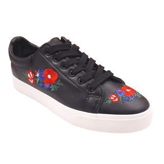 APPETITE SHOES- FLORAL EMBROIDERY LACE UP SNEAKERS (AP8170) BLACK