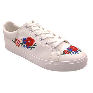 APPETITE SHOES- FLORAL EMBROIDERY LACE UP SNEAKERS (AP8170) WHITE