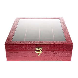 12 - Compartment Watchbox (Square) Red - Glossy Crocs