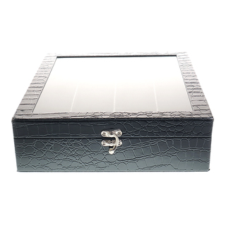 12 - Compartment Watchbox (Square) Black - Glossy Crocs